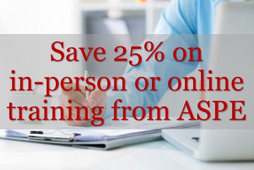Save 25% on training from ASPE